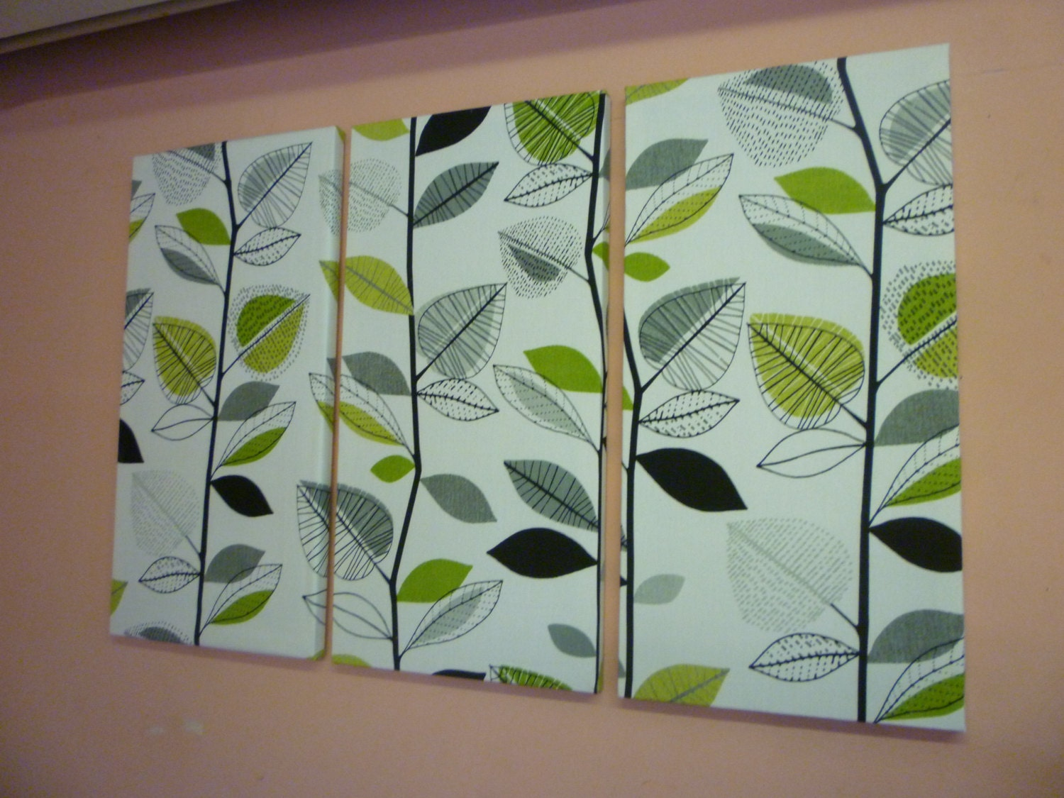 Big lime green fabric wall art funky retro designer by for Lime green wall art