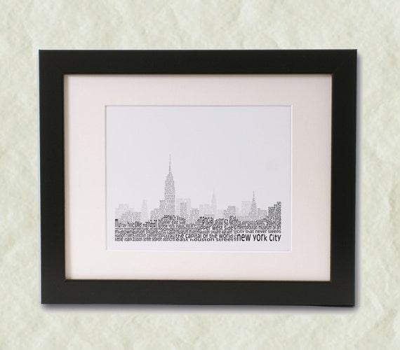 New York City Sky Line Word Art Print