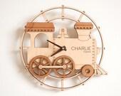 Kids Wooden Train Clock Personalized Nursery Train Decor