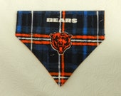 Go Chicago Bears! Blue & Orange Plaid NFL Football Party Game Touchdown Print. Dog Cat Ferret Reversible 2 in 1 Over the Collar Bandana.