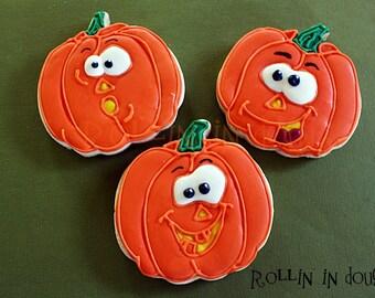 Halloween Cookies, Pumpkin Cookies, Pumpkin Face Cookies, Jack-O-Lantern Cookies, Happy Face Pumpkins