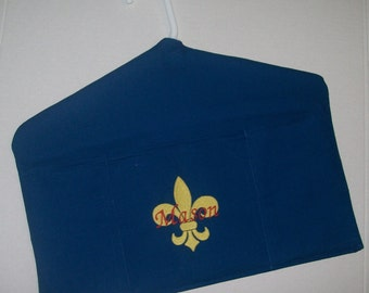Scout Uniform and Scout Book Hanger Organizer - Machine embroidered with Scout's Name and Fluer de lis - Book and uniform holder