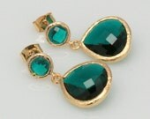 Gold EMERALD Green Earrings, Framed Emerald Glass Earrings, Dark Green Gold Earrings, Bridesmaids Earrings.