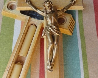 Vintage Last Rights Cross, Sick call cross, Crucifixtion, Vintage cross, Jesus on Cross, wall mount cross