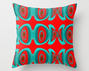 Red, Pillows, Mid Century Modern, Geometric, Home Decor, Living Room Decor, Mid Century, Retro, Decorative Pillow, Bedroom Decor, Blue
