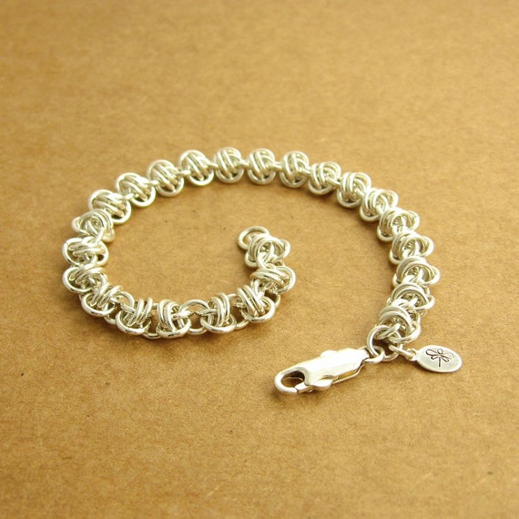 Orbital Chainmaille Bracelet, Argentium Sterling Silver, Ready To Ship