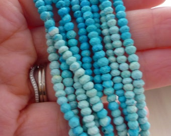 Faceted arizona turquoise rondelle beads 3-4mm 1/4 strand