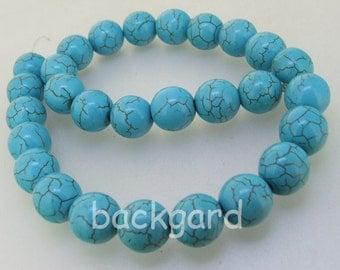 "Round 10mm Turquoise  Gemstone Beads One Strand 13"""
