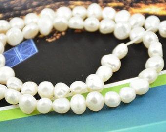 "One strand White Freshwater Cultured Pearl Beads Gemstone 5mm-7mm  One Strand 14.5"""