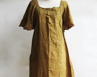 D24, Yellow Brown Butterfly Effect Cotton Dress