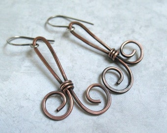 Copper Earrings Mixed Metal Hammered Copper Handmade Jewelry