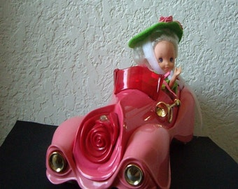 Rose Petal Place Roadster car and vintage Rose Petal Doll, ORCHID with original Rose Petal clothing and stand 1980s Toy