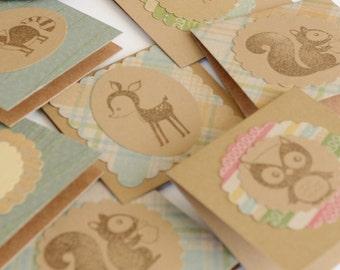 Woodland Creatures Mini Cards, 100 Kraft Cards with Owl, Bird, Squirrel, Rustic Card Set