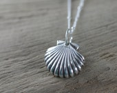Fine Silver Scallop Shell Pendant and Necklace - Seashell Lover