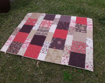 Chocolate red blocks patchwork quilt red brown quilt lap quilt