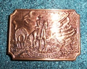 CLEARANCE 70s Cowboy on Horse Copper/Bronze Belt Buckle