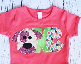 Puppy birthday shirt, 1st, one, 4th, four, dog t shirt, girl pink,