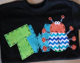 bug birthday shirt, 2, two,  t shirt, boy, black