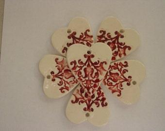 Set of 6  Gorgeous Red, Embellished Ceramic Heart Wedding - Valentines Ornaments