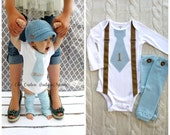 """Baby Boy 1st First Birthday Onesie Outfit.  Tie Suspenders Bodysuit & Button Leg Warmers. Blue Personalized """"1""""  or Any Wording, Valentine's"""