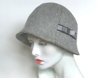 Grey herringbone tweed wool mix fabric cloche with ribbon trim Medium size