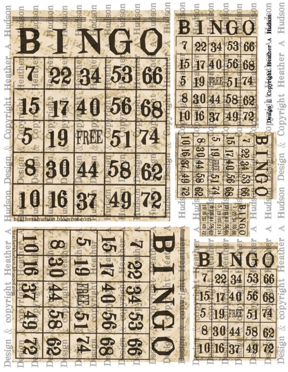 Vintage  Bingo cards Ivory Music Digital Collage sheet Printable