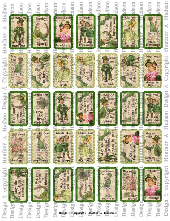 Victorian Vintage Traditional Greens St. Patrick's Day Tickets Irish Blessing  Digital Collage sheet Printable