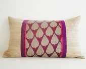 Block Printed , Color Blocked  Silk Cushion Cover , Throw Pillow , Decorative Pillow