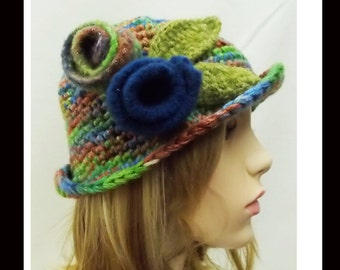 Women's Handmade Crocheted Hat-65 Women Cloche Hat, Cloche, Hats and caps, accessories, felted flower, hair accessories, women's crochet hat