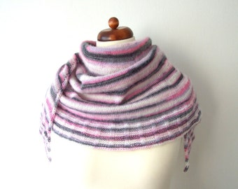 knitted mohair wrap, white pink black scarf, cozy winter shawl