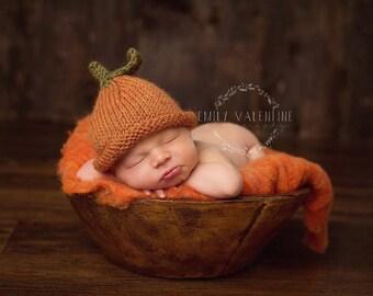 Pumpkin Beanie - READY TO SHIP - sitter baby photo prop