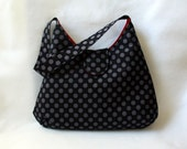 Hobo Bag - Black and Gray Polka Dot Purse with Red Lining