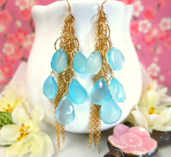 Reserved for Yvonne - Blue chalcedony chandelier gold chain tassle earrings, blue chandelier gold filled earrings