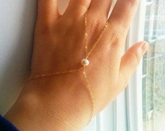 Dainty Gold Hand Chain, Gold Slave Bracelet, Freshwater Pearl Bracelet, Delicate Finger Bracelet, Body Jewelry, Sterling Silver, Rose Gold