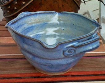 Large Hot Dip Server Spiral Squared Bowl with Ridges Doubnle Handles in Cobalt Blue