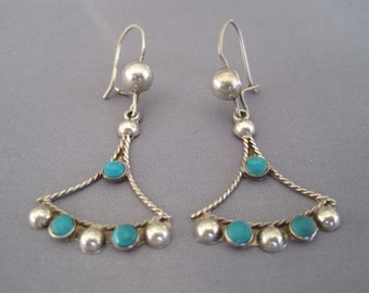 Vintage Sterling Turquoise Curved Triangular Earrings
