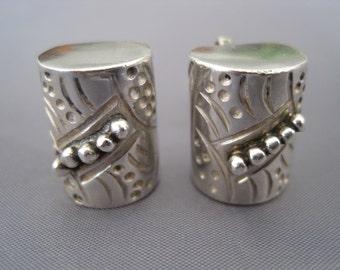 Vintage Sterling Barrel Shape Earrings