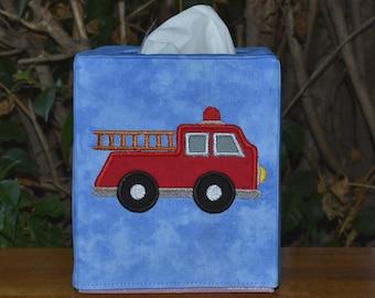 Appliqued Fire Truck Tissue Box Cover