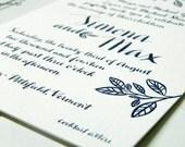 Tree Branch/Rustic Vermont Wedding Letterpress or Digitally Printed Wedding Invitations
