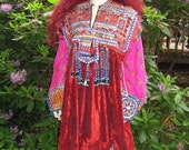 l VINATGE Woodstock Noamdic FRINGED BEADED Stunning Dress Ooak medium To 2X
