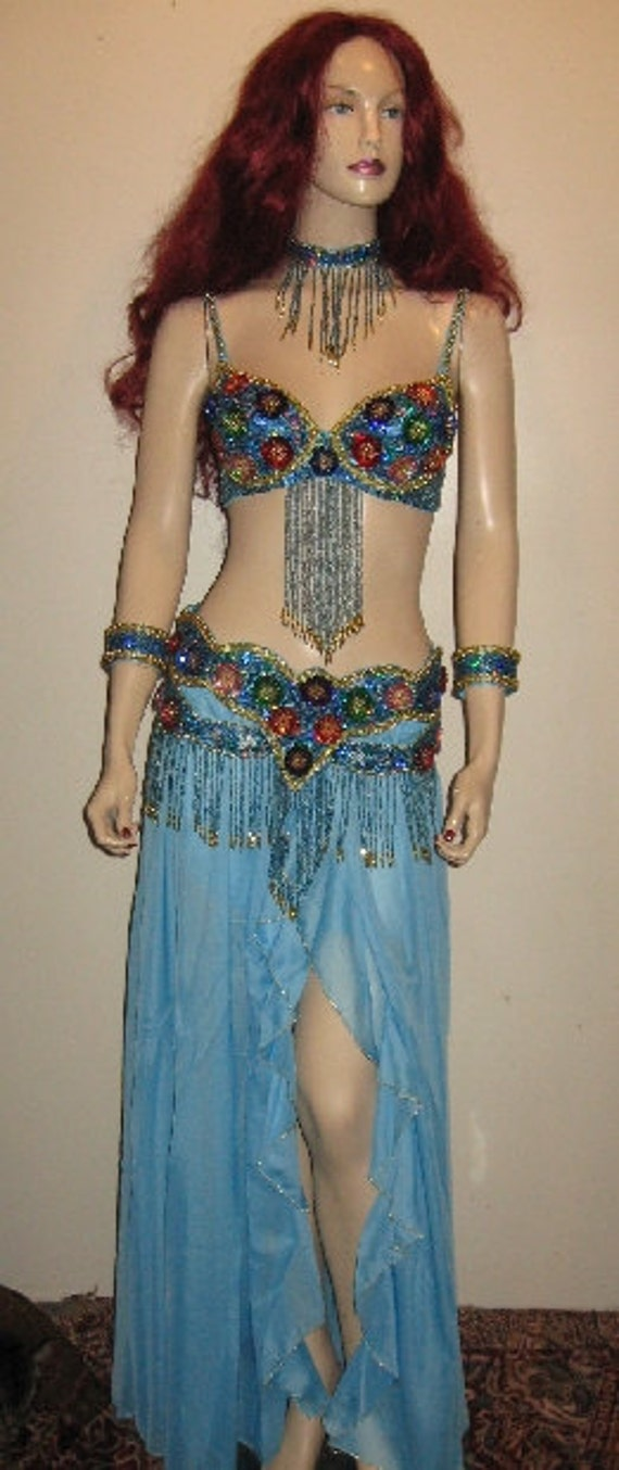 3 Pc CABARET Belly Dance COSTUME Handmade by EclecticCollage
