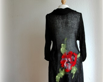 Black Cardigan LINEN Knitted Whit Leather Brooch With Felt Flower Application  Eco Friendly Sweater Wrap Clothing Natural M - XL