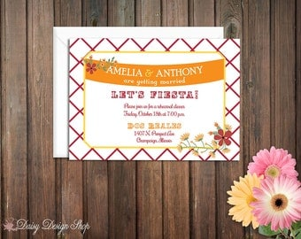 Rehearsal Dinner Invitation for Wedding - Mexican Fiesta with Flowers