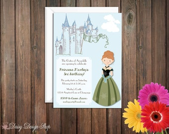 Birthday Party Invitations - Norwegian Princess and Castle - Set of 20 with Envelopes