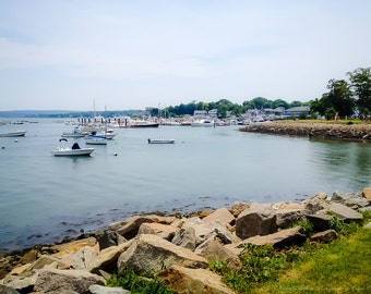 Coastal PLYMOUTH HARBOR Photography - Travel New England Art, Massachusetts Print, Atlantic, Ocean, Cottage Decor, Water, Boats