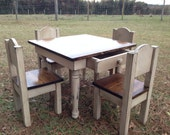 Child's Table w/ drawer and 4 Chair Set