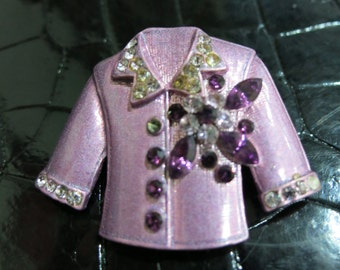 Sale, Was 7 - Repurposed Recycled Purple Crystal Jacket Brooch - once part of a corsage of a jacket from a Japanese brand - early 90s