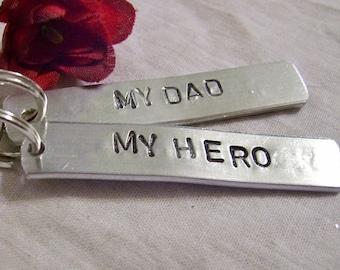My Dad my hero hand stamped key chian