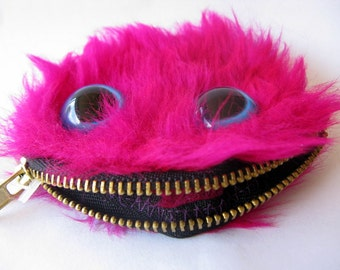 Furry Magenta Monster Coin Purse