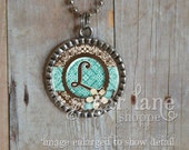 Monogram Initial Bezel Necklace (Teal & Brown Damask) - Chain Included